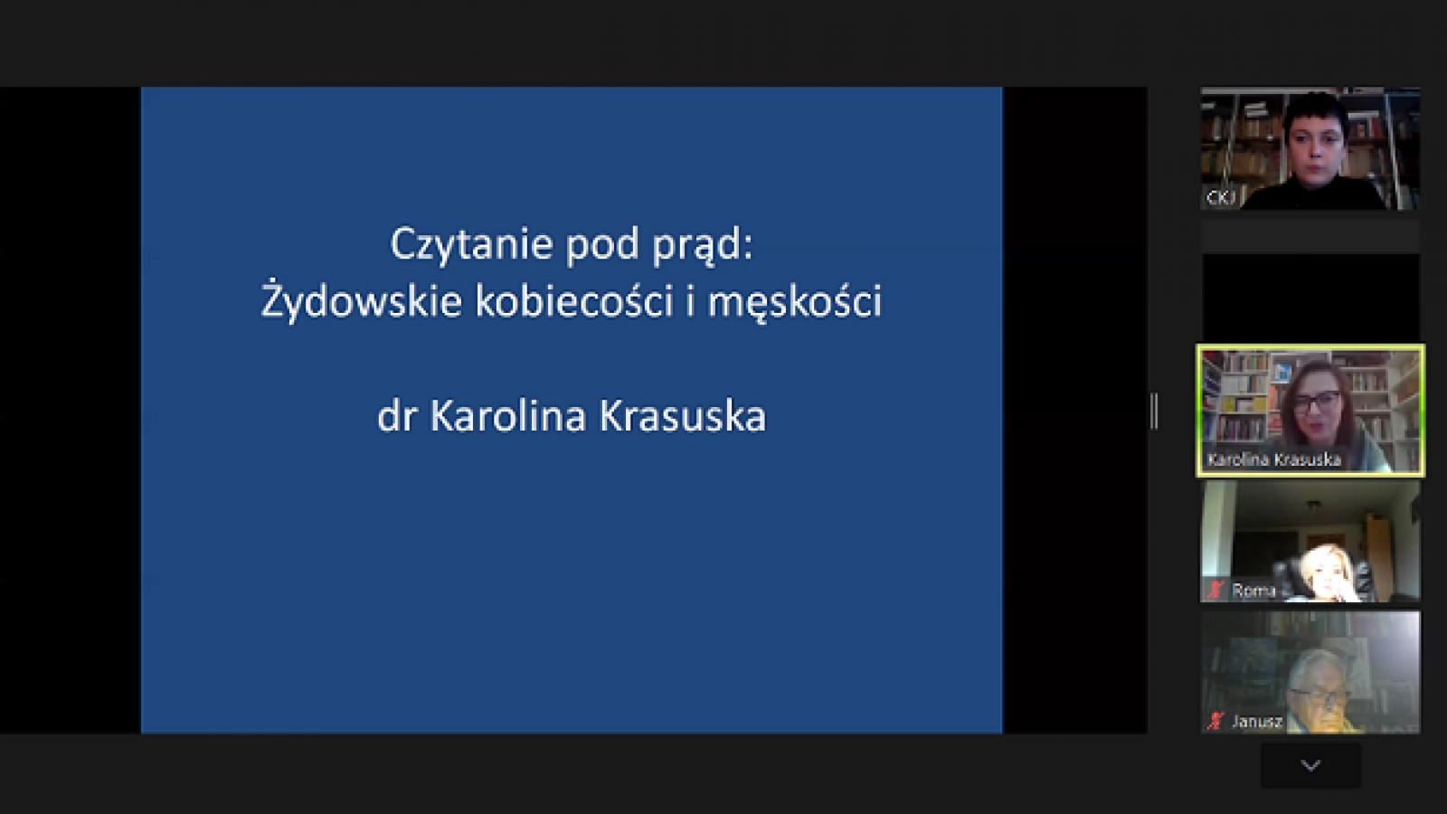 Screen z wykładu, po prawej uczestnicy, w środku grafiki tytuł wykładu i nazwisko prowadzącej